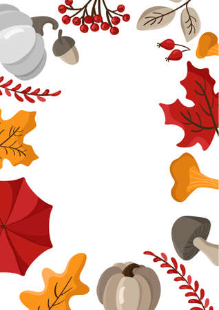 Autumn leaves, fruits, berries and pumpkins border frame background with space text. Seasonal floral maple oak tree orange leaves for Thanksgiving Day