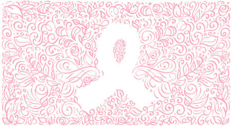 Stylized pink vector banner ribbon of Breast Cancer for October is Cancer Awareness Month Ilustrace