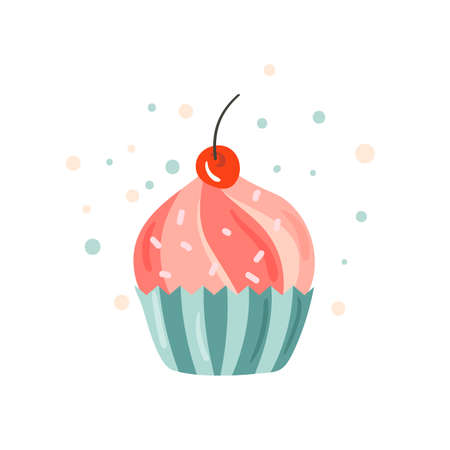 Happy Birthday calligraphic lettering vector pink cake. Joy and fun festive postcard decorated cupcake. Comic greeting card, poster, banner, web design and print on t-shirt