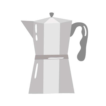 Traditional Italian style metallic geyser coffee maker isolated. Vector icon vintage object illustration. Retro espresso machine symbol design 免版税图像 - 158007647