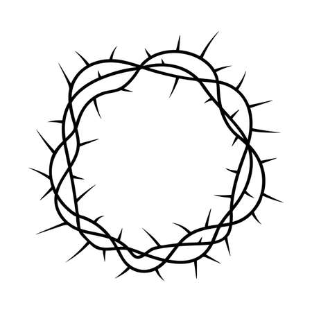 Christian  crown of thorns religious symbol hand drawn vector illustration sketch on white background Ilustrace
