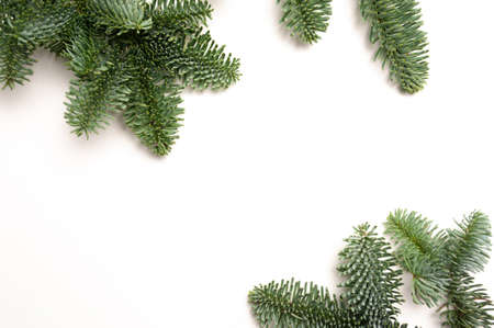 Christmas fir branches with place for your text on a white background isolated. New Year card template Foto de archivo - 160760871