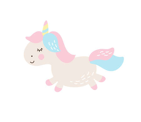 Magic unicorn childish illustration. Stay unique text with fairy pony. Vector scandinavian Illustration. Perfect for baby and kids design, t-shirt print, nursery decoration, poster, greeting card