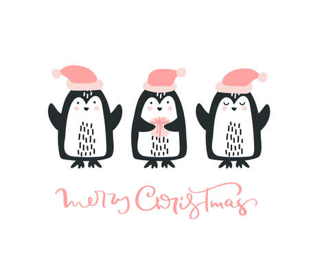 Christmas Greeting Card with pinguins and text Merry Christmas. Enjoy winter time. Template for Greeting Scrapbooking, Congratulations, Invitations Foto de archivo - 160950465