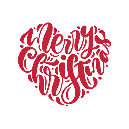 Merry Christmas red hand drawn vector text in form of heart. Calligraphy lettering love design for christmas greeting card. Holiday Greeting Poster. Valentines day illustration