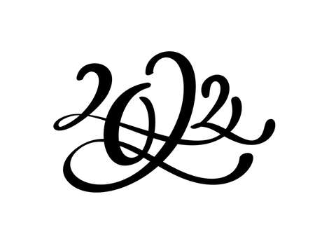 Hand drawn lettering calligraphy black number text 2022. Happy New Year greeting card. Vintage Christmas illustration design Foto de archivo - 161618504