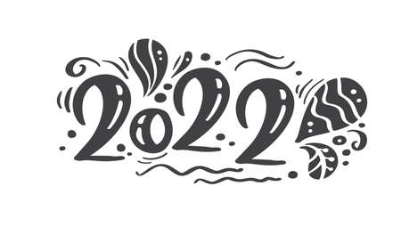 Happy new year 2022 logo text design Scandinavian style. Black and white color. Simple decoration on flat design style. Icon for new year celebrate Vectores