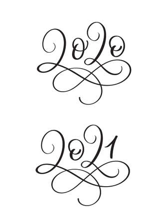 Hand drawn lettering calligraphy black number text 2020 and 2021. Happy New Year greeting card. Vintage Christmas illustration design