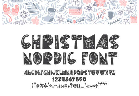 Christmas nordic hand drawn font. Vector Abc holiday scandinavian alphabet isolated on white background. Merry Christmas and Happy New Year symbols