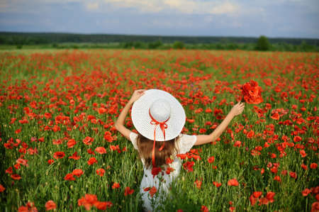 Beautiful young woman live style holds in hands white hat and stands with open arms on field of red poppies at the background blue sky and white clouds. Back view Foto de archivo - 161618516