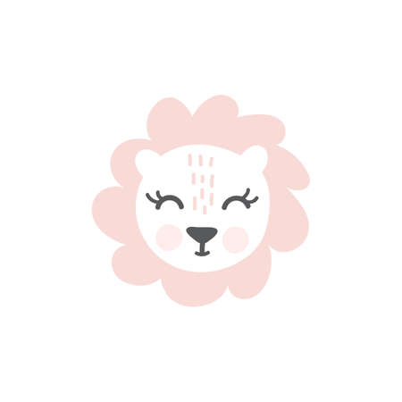 Pink Lioness hand drawn illustration vector in doodle style. Cute lioness head. Kids, baby nordic design for cards, poster, nursery wall art, clothing. Scandinavian style Foto de archivo - 161618489