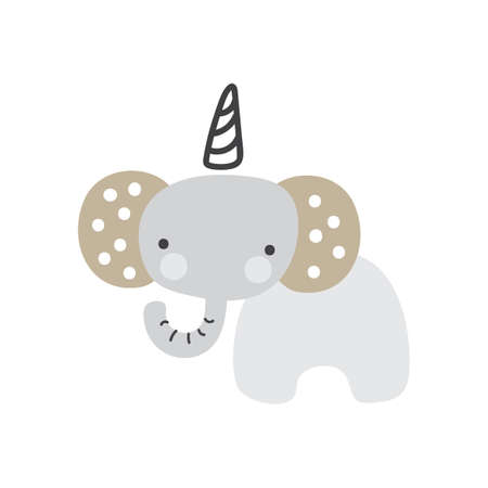 Cute catoon elephant unicorn on white background for kids. Beautiful nursery room poster tempale with cute elephant baby. Vector elephant illustration Foto de archivo - 161618493