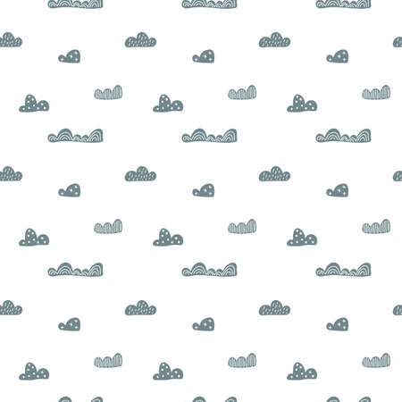 Child cute doodle clouds seamless pattern in scandinavian style. Vector hand drawn kids nordic wallpapers, holiday Foto de archivo - 161618497