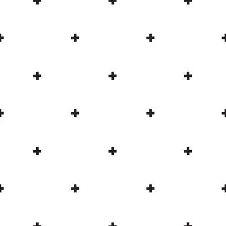 Minimal vector seamless pattern in scandinavian style black crosses isolated on white background. Hand drawn cartoon illustration for posters, prints, nordic cards, fabric, children books Foto de archivo - 161618498