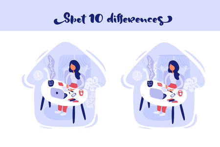 Find 10 differences Woman learn sitting at the table with a laptop at home Vectores
