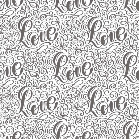 Vector seamless pattern with Love lettering calligraphy for valentines day, wedding Vectores