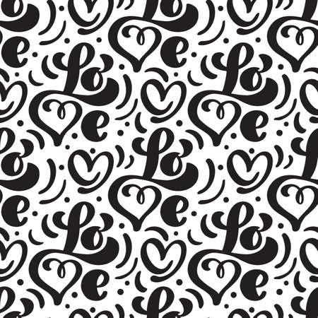 Vector seamless pattern with Love lettering calligraphy for valentines day, wedding Foto de archivo - 162594887