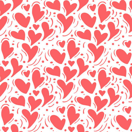 Vector seamless pattern with hearts. Romantic decorative graphic background Valentines Day, wedding, Christmas. Simple drawing ornamental illustration for print, web