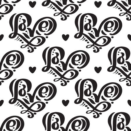 Vector seamless pattern with Love lettering calligraphy for valentines day, wedding Foto de archivo - 162594891