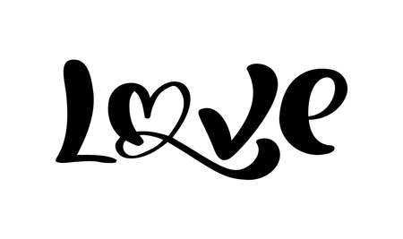Handwritten vector logo text LOVE and heart Happy Valentines day card, romantic quote for design greeting card, tattoo, holiday invitation