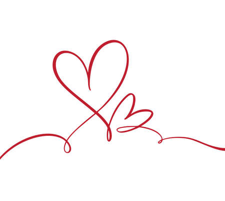 Flourish vintage Vector divider Valentines Day Hand Drawn Calligraphic Heart. Calligraphy illustration. Holiday Design element valentine. Icon love decor for web, wedding and print Foto de archivo - 162528743