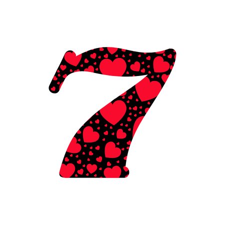 feminine background: Black figure with red hearts texture isolated on  white background. Romantic figures. Romantic numbers. Greetings card. Feminine background.