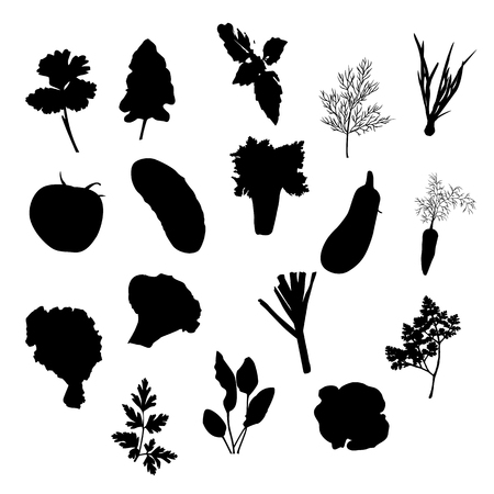 Vector vegetables icons set black silhouette isolated on white background.