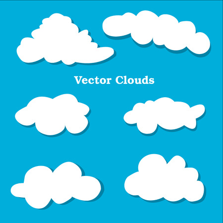 natural phenomenon: Flat design clouds icons set. Vector illustration. Weather flat  vector  collection. Blue background.