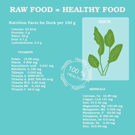 dock: Nutrition facts for dock in flat style Illustration
