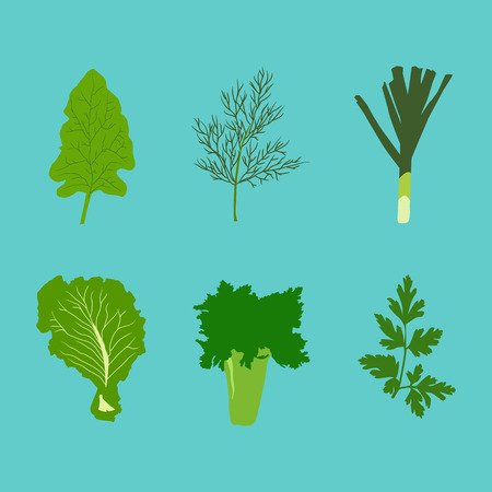 Set of vector vegetables in flat style on blue background. Stock Vector - 56434404