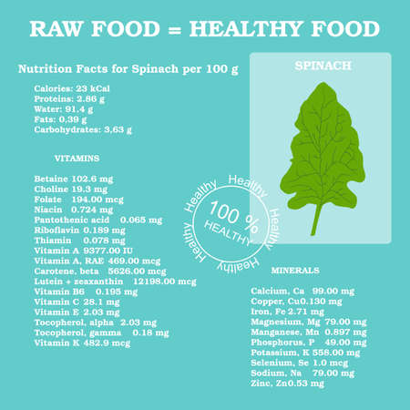 facts: Nutrition facts for spinach in flat style Illustration