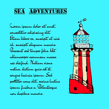 brig: Hand drawn vector vintage lighthouse in grunge style on blue background.
