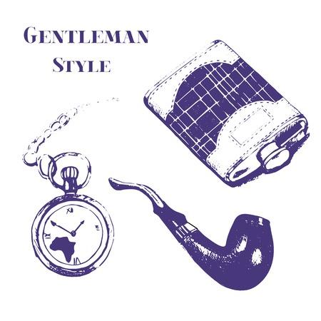 pocket watch: Getleman vector vintage stuff set in grunge style. Flask, watch, tobacco pipe, pocket watch. Illustration