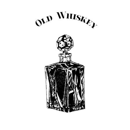 decanter: Hand drawn vintage crystal decanter. Black on white whiskey bottle.