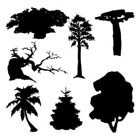 alder: set of black trees silhouettes isolated on white background