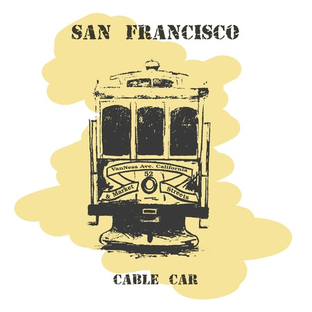 cable car: Vintage hand drawn San Francisco cable car.