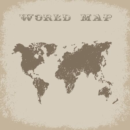 geography background: World Map in grunge style. Vector ilustrartion. Geography background. Adventure style. Journey and trip.