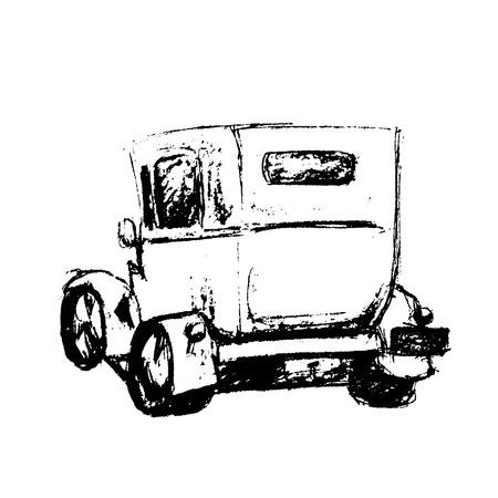yellow cab: Vintage vector hand drawn London cab. English taxy cab. Yellow cab illustration