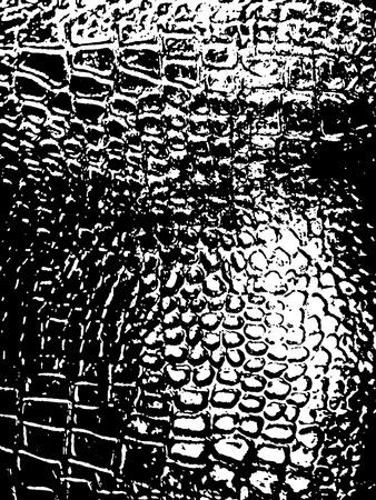 snake leather: Grunge vintage halftone vector ink print background texture. Crocodile leather print. Snake leather print Illustration