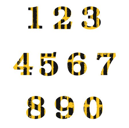numerology: set of distressed numbers in grunge style.
