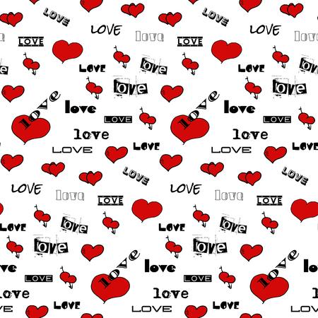 Il modello senza cuciture di vettore con i cuori e le parole rossi ama. Sfondo vettoriale Sfondo di auguri Carta di San Valentino