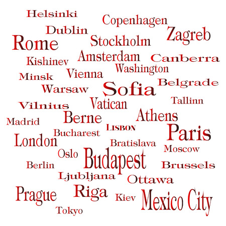 capitals: text andwords with name of city and capitals