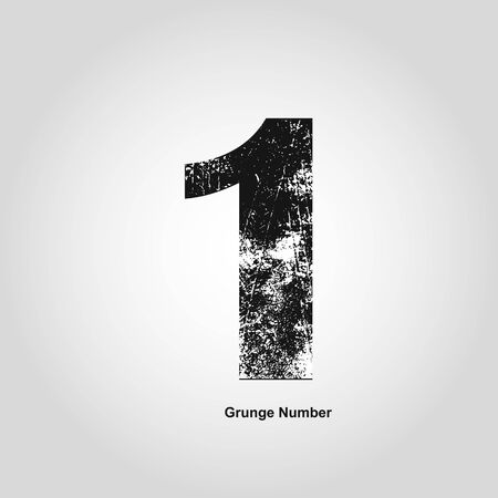 numerology: Grunge number One. Distress damaged object. Vector illustration. Math objects