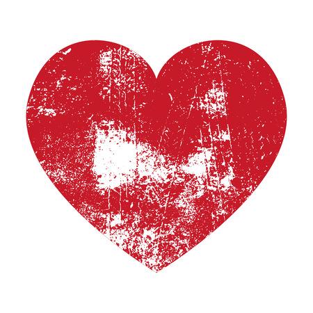 Grunge Heart. Red Heart. Heart Shape. Distressed Heart. Heart Texture. Valentine's Day Heart. Heart Background. Brush Stroke Heart. Vector Heart. Vettoriali