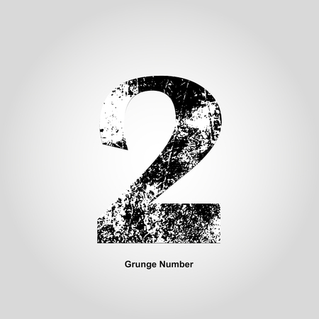 numerology: Grunge number Two. Distress damaged object. Vector illustration. Math objects