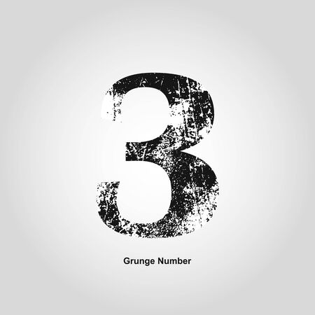 numerology: Grunge number Three. Distress damaged object. Vector illustration. Math objects