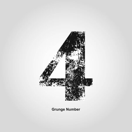 numerology: Grunge number Four. Distress damaged object. Vector illustration. Math objects Illustration