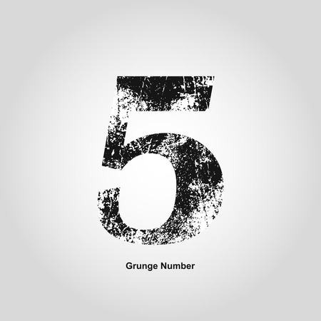 numerology: Grunge number Five. Distress damaged object. Vector illustration. Math objects Illustration