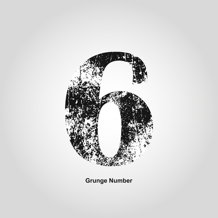 numerology: Grunge number Six. Distress damaged object. Vector illustration. Math objects Illustration