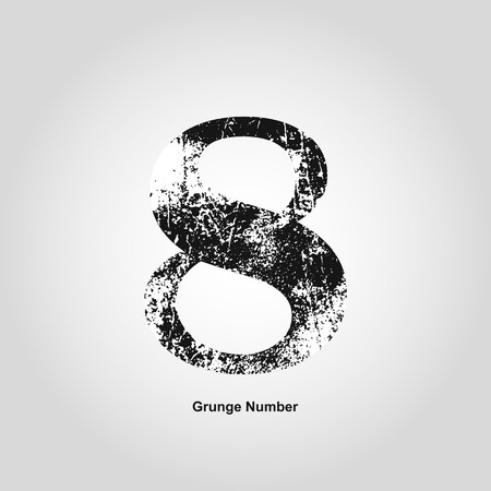 numerology: Grunge number Eight. Distress damaged object. Vector illustration. Math objects